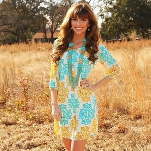 Womens Peach Love Yellow/Blue Patterned Dress NWTM